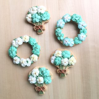 (Please ask the schedule and then order Oh) Country Bouquet and wreath 5 pieces of sugar cookies