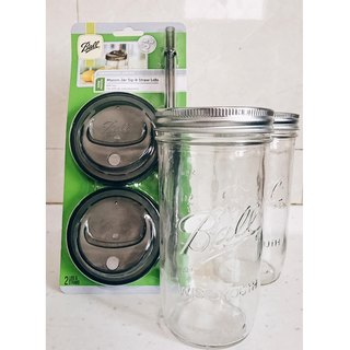 US sealed glass sealed Mason jar set _24oz wide mouth cans*2 wide mouth straw cup lid set*1