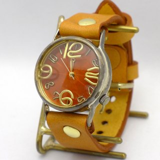 "Handmade watch HandCraftWatch ""JSB 2"" color dial OR (orange) JUMBO Brass [JUM 38 B OR / CA]"