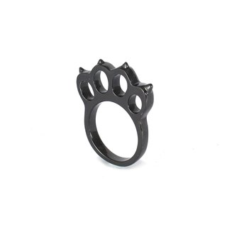 Bibi Fun Picks series - knuckles down cat - black / silver tail ring (mailed free transport)