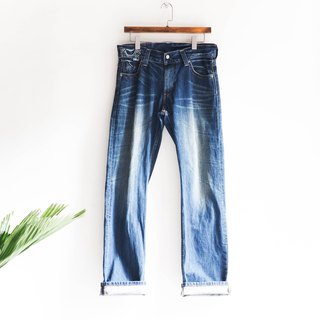 River water - levis 523 Saitama love sea blue cotton denim antique straight wide pants denim pants vintage