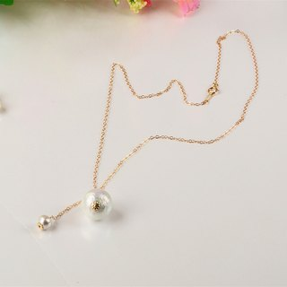 [Stamp] cotton pearl pendant clavicle chain 14K gold and silver tree pattern pearl gift package