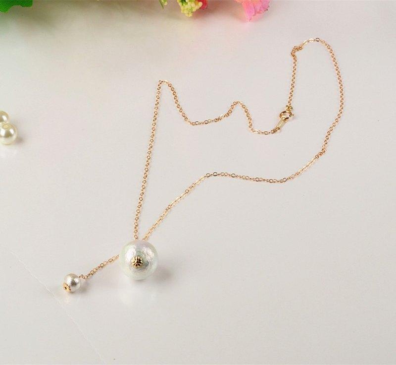 【印記】棉珍珠鎖骨鏈 吊墜14K包金銀 樹紋珍珠 禮物