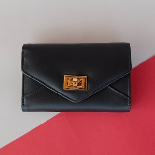 MINIMAL WOMAN LEATHER SHORT PURSE/ WALLET- BLACK