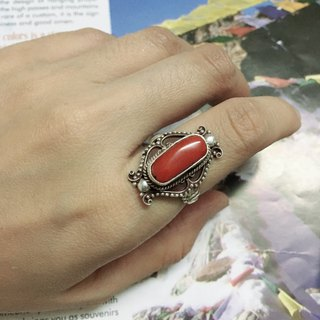 Coral Finger Ring Special Nepali design Handmade in Nepal 92.5% Silver