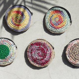 Limited gift handmade crochet round coin purse / storage bag / bag / debris bag / headphone pouch - color palette colorful round + sari purse