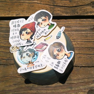 [Heart] Design monologue daily series of hand-painted sticker