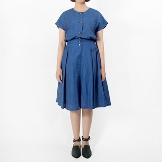 │moderato│Time and space girl cobalt blue vintage dress │ personality retro. England. Literary youth