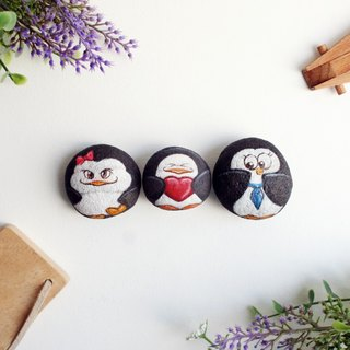 Penguin Family stone painting.