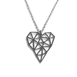 Abstract long polygon heart shape pendant