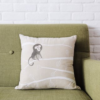 Taiwan macaque embroidery pillow