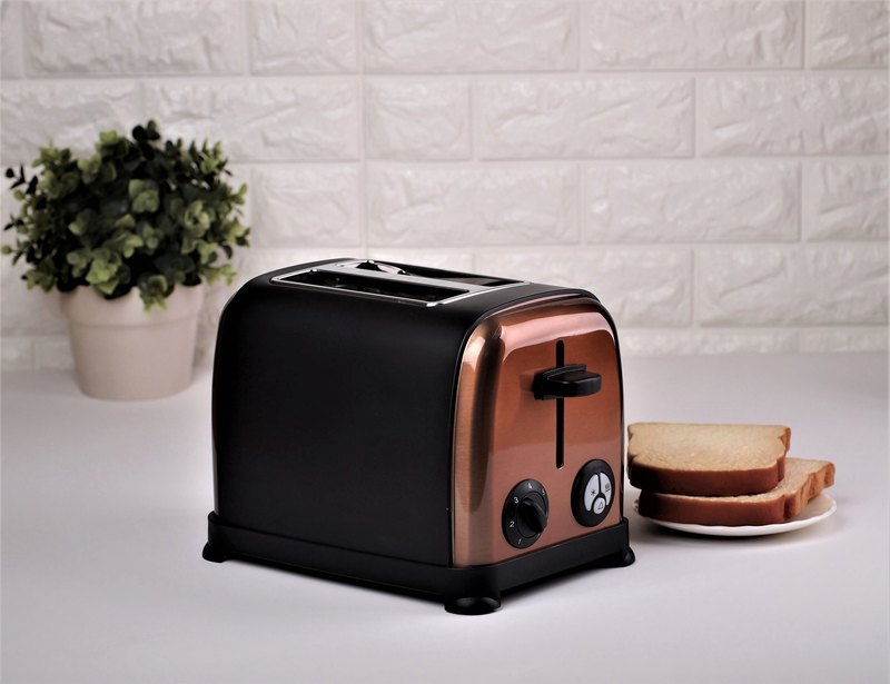 2 Slice 800W Stainless Steel Bread Oven Toaster - Retro Matt Black