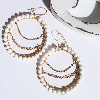 howlite*wraped hoop pierce耳針式