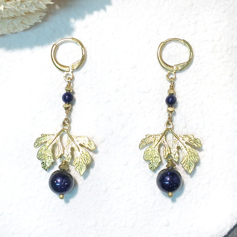 VIIART. Royal - starry blue. Blue sandstone brass earrings - can be changed to clip