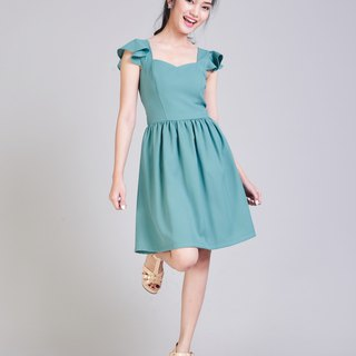 Sage Green Dress Party Dress Ruffle Dress Fit and Flare Dress Bridesmaid Dress