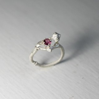 Tourmaline calyx silver ring