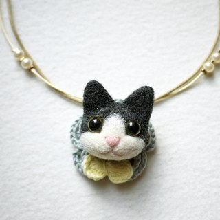 Petwoolfelt - Needle-felted black cat 2-ways accessories (necklace + brooch)