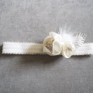 Sunflower Handmade baby girls white ribbon flower hair band