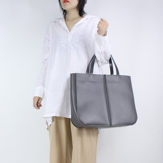 Zemoneni grey color leather tote bag huge size with leather parttition.