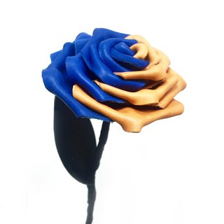 """Contradiction"" series Leather Rose - Blue / Orange"