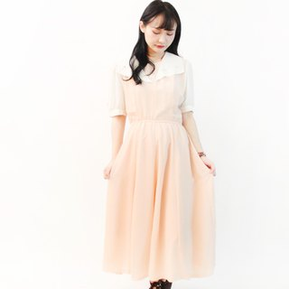 Vintage Sweet Romantic White Large Lapel Dot Pink Short Sleeve Vintage Dress Vintage Dress