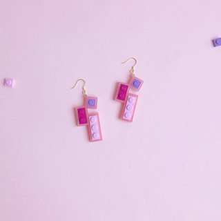 Dating  Pink purple LEGO Earring
