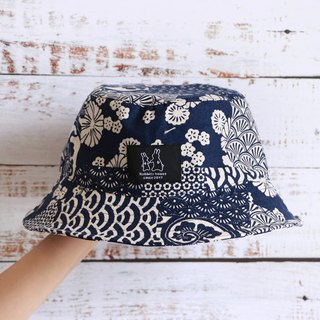 Blue white totem print fisherman hat