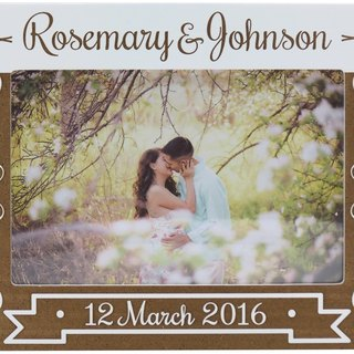 Customized carved wooden photo frame (4R photo) - we get married B theme x personalize