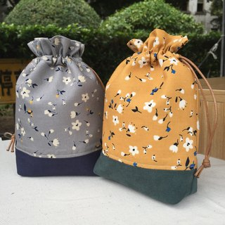 Autumn Floral Two Colors - Suede Drawstring Pocket