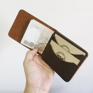 Minimal Dark Brown Leather wallet, Half wallet, Slim wallet, Leather billfold