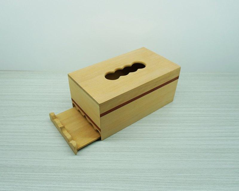 手工原木台灣檜木併紅花梨木面紙盒