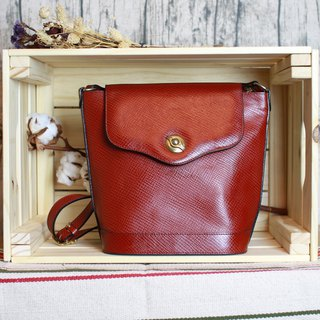 Back to Green:: Coffee Red Leather // vintage Bag (B-05)