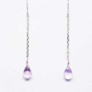 Amethyst briolette long chain earrings SV925 【Pio by Parakee】紫水晶耳環