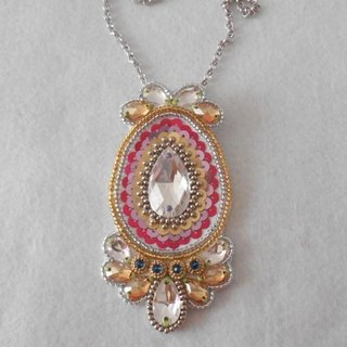 【beads embroidery】 Swarovski  pendant top  no.3