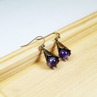 【Collection of gold lake】 wisteria earrings purple black models | clip-style earrings earrings can be changed for sterling silver needles | amnesty crystal | brass silver | natural stone earrings, Chinese ancient style jewelry E6