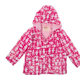 Windproof breathable printing warm warm raincoat jacket <cute rabbit baby>