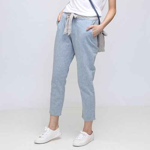 BUFU slim fit eight-point pant with belt  P140506