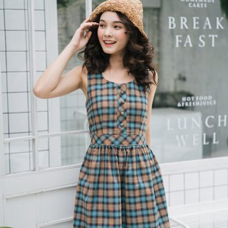 Checkered Dress Plaid Dress Gingham Dress Cotton Blue Brown Dress Vintage Style