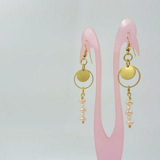 E10 (can be typed) - pure copper freshwater pearl earrings (1 pair)