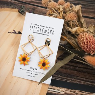 Littdlework embroidered earrings ear clip ear hook | sun flower