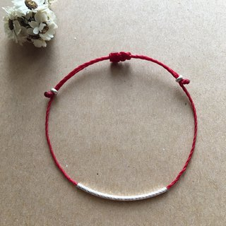 Simple Silver Tube Fine Bracelet Red Line Blessing Bracelet Sister Chain Brazilian Wax Line 925 Sterling Silver / Anklet