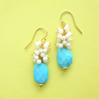 14kgf♡Sleeping Beauty Turquoise volume pierced earring