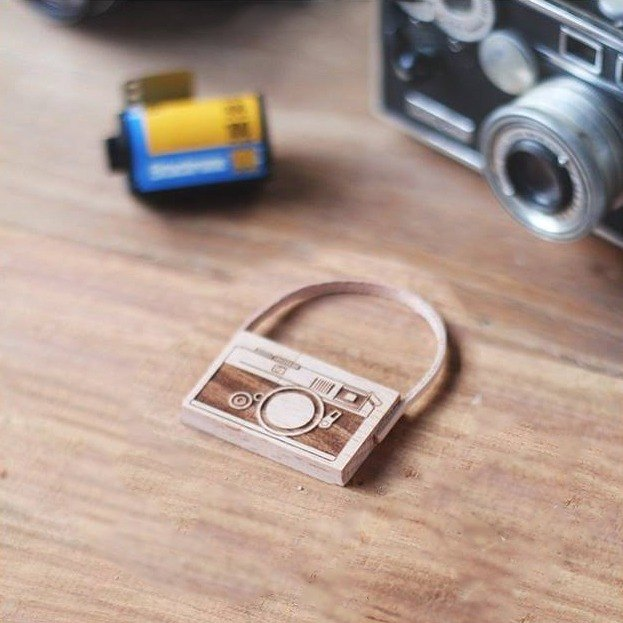 CUSTOMIZABLE Wooden Camera USB Flash drive – Leica (with leather strap)