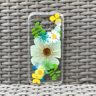 Samsung Galaxy S7 edge Handmade Dry Pressed Flowers Case Green Flower case 005