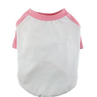 Candy Pink Raglan Sleeves 95Cotton/5Spandex Jersey Dog Tee, Dog Apparel