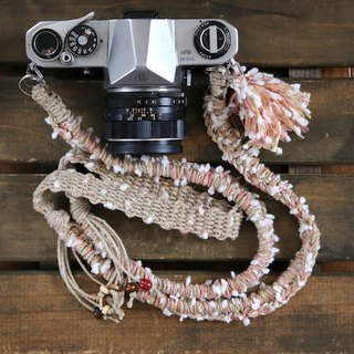 Snowballs yarn's hemp string camera strap / double ring