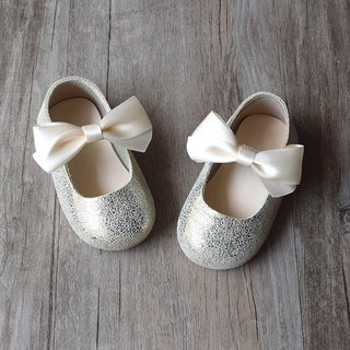 Gold Mary Jane Shoes with Ribbon Bow, Baby Girl Shoes, Toddler Girl Shoes