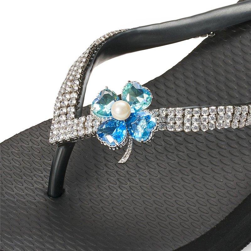 女款3cm厚底夾腳拖鞋-頂級首飾工藝水鑽-幸運草藍彩 爵士黑