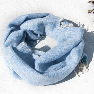 Christmas gift pure wool scarf / handmade knit scarf / woven scarf / pure wool scarf - blue seaside