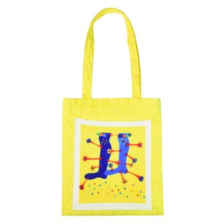 "SMALL POTATO Exclusive Original Design Handle Lemon Yellow Series Fun Illustrated ""Leg"" Cloth"